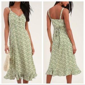 Lulu's Green Darling midi dress size S